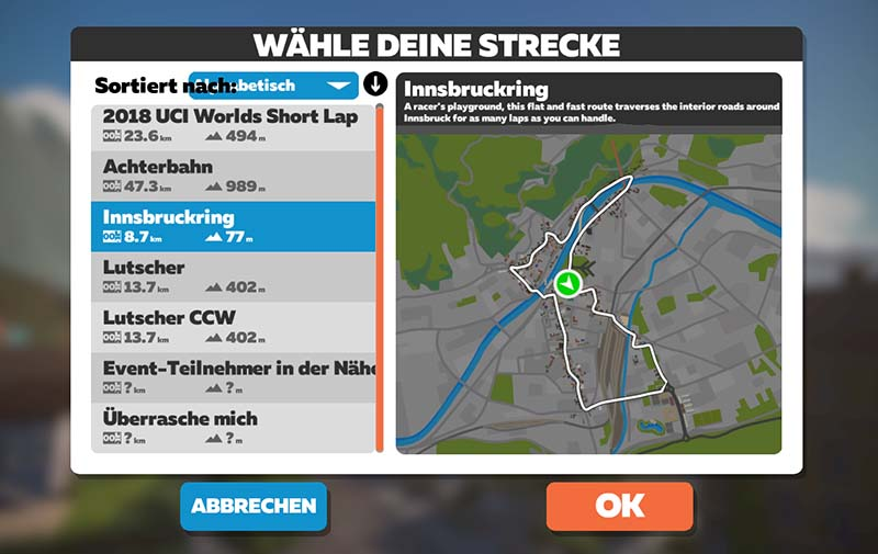 Zwift Strecken in Innsbruck