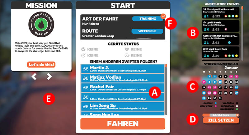 Startbildschirm Go Ride bei Zwift