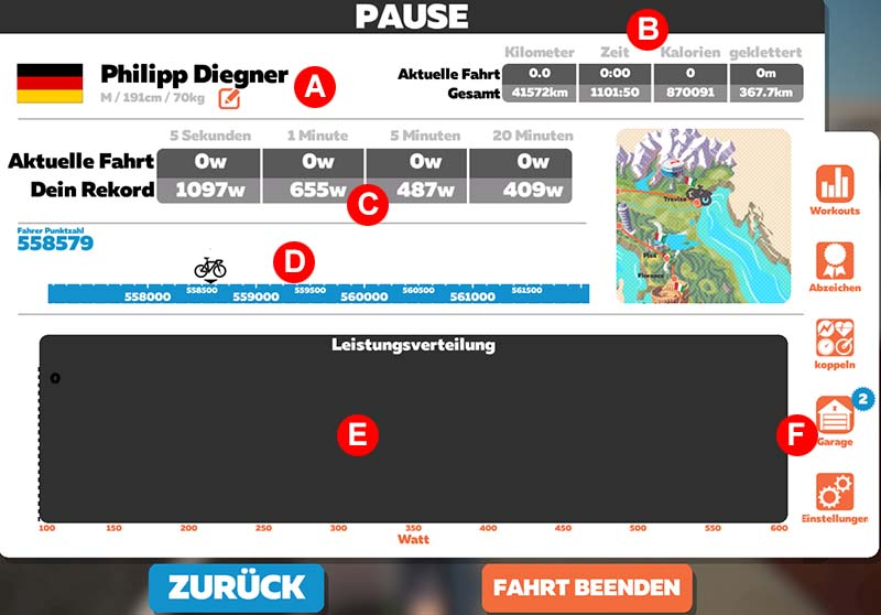 Das Menü in Zwift (April 2019)