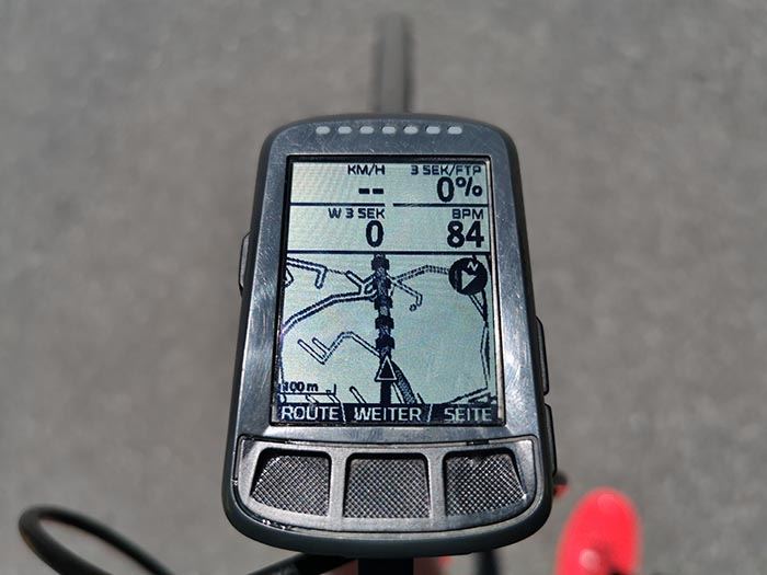 Navigation auf dem Tacho