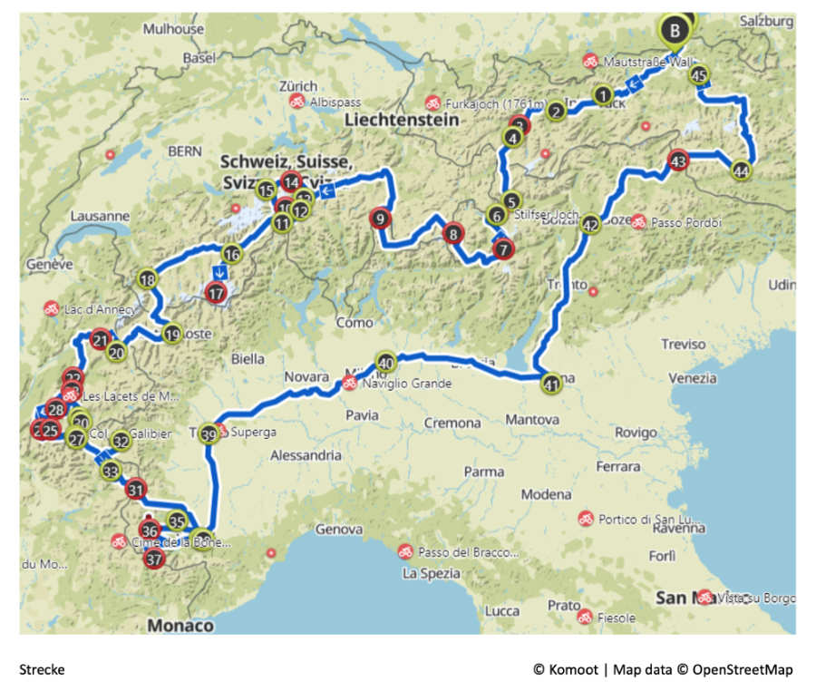 Radreise von Tirol nach Piemont