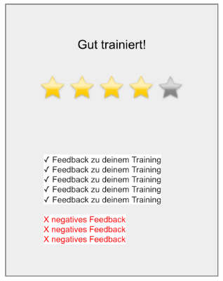 Sterne Bewertung des Trainings