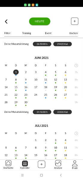 Kalender mit deinem Training
